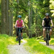 Biking on outdoor trails