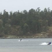 Two people kite surfing on The Lagoon